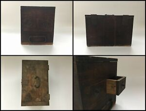 Japanese Wooden Calligraphy Tool Storage Box Vintage Shodo Drawer Q855