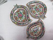 Set of 3 Vintage Chinese Export Famille Rose Porcelain Leaf Shaped Dish / Nappy