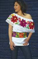 Day of the dead Gorgeous White Mexican Off Shoulder Peasant Blouse Embroidered