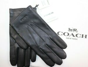 NWT $130 COACH Size S Men's Black Smooth Leather Wool Lined TOUCH Dress Gloves
