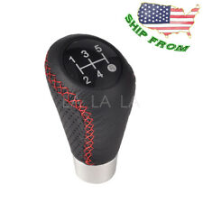 5 Speed Gear Shift Knob Cover Leather Red Stitche Universal Manual Shifter