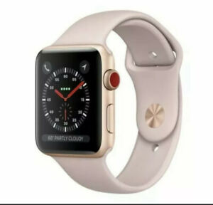 Apple Watch Series 3 42mm Gold Aluminium Case with Pink Sand Sport Band-GPS LTE
