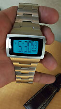 Vestal Dolby Retro Style Brushed Stainless Steel Mens Digital Watch