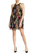 6027a21147ef Betsey Johnson Bold Floral Chiffon Swing Halter Mini Dress Black XS 2