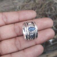 Labradorite Stone Solid 925 Sterling Silver Spinner Ring Meditation Ring Size K3