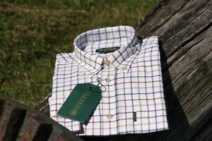 Mens Beretta Classic Shirt - White Amber Blue Check - New