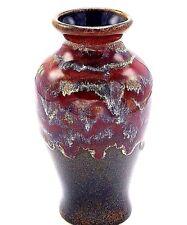 "Southwest Studio Art Pottery Bud Vase Drip Glaze Brown Red Maroon Signed 5.5"""