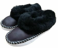 Womens SHEEPSKIN Full Slippers Hand Made Hard Sole Wool Moccasins Size 3-8