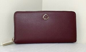 NWT Kate Spade New York Adel Large Continental wallet Leather Cherrywood