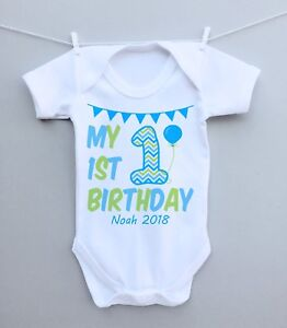 Personalised baby bodysuit vest babygrow! First 1st Birthday Party Gift bunting