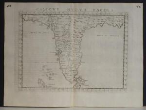INDIA NORTH SRI LANKA1564 PTOLEMY & RUSCELLI SCARCE ANTIQUE COPPER ENGRAVED MAP
