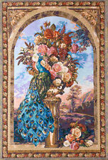 """Arch View with Rose Bouquet & Peacock Bird Floral Tapestry Wall Hanging 68""""x48"""""""