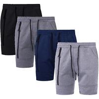 Mens Plain Shorts Fleece Jogger Gym Elasticated Waist Running Zip Pockets Big