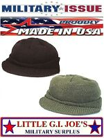 Military Issue 100% Wool Jeep Cap W/Brim Watch Cap Skull Cap Rothco 7708 7709