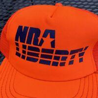NRA Liberty Vintage Trucker Hat Snapback Cap Neon Orange 80s USA Guns Mens Adult