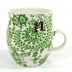"""Anthropologie HOMEGROWN MONOGRAM """"N"""" 14oz Mug Cup Green Floral Brown Letter"""