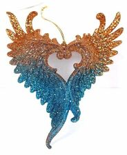 COPPER BLUE ANGEL WINGS SPARKLE GLITTER CHRISTMAS ORNAMENT HOLIDAY DECOR NEW!