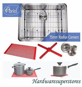 "Ariel 26"" Stainless Steel Undermount Single Bowl Kitchen Sink 15mm (1/2"") Radius"