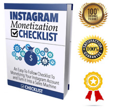 Instagram Monetization Checklist- eBook pdf - With Resell Rights -Delivery 12 hr