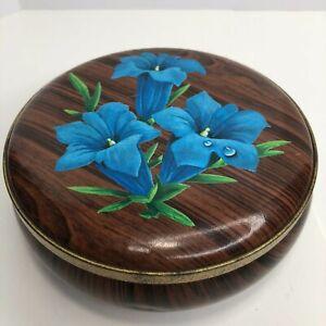"Tin Blue Lilly Woodgrain Patina Small Metal Tin 5""x5"""
