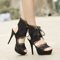 Women's Slingback Stilettos Platform High Heels Lace Up Sandals Party Prom Shoes