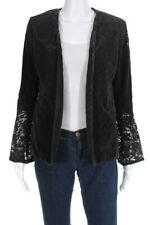 Drew Womens V Neck Open Front Lined Suede Lace Blazer Brown Size Small