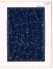 ANTIQUE PRINT VINTAGE 1890 ASTRONOMY SCIENCE STAR CHART MAP CONSTELLATIONS 5A