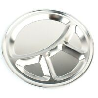 Stainless Steel Round 4 Compartment 35cm Indian Thali Plate Camping bara