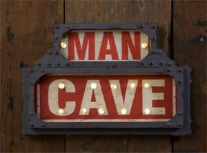 Man Cave Lighted Sign LED 6 Hour Timer On Off Switch Rustic Industrial Decor