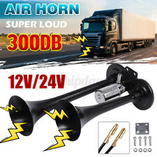 300DB Dual Trumpet Air Horn 12V 24V Car Truck RV Train Boat Loud Lorry Black