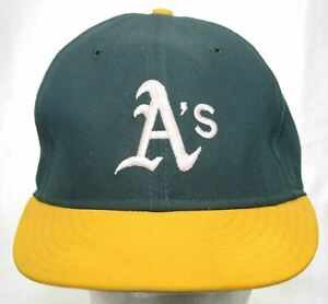 Vintage 80s Oakland Athletics New Era 59FIFTY Cap Pro Model Fitted Hat Sz 7 1/4