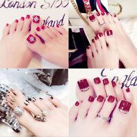 24 Pcs Rhinestone Art Accessory False Toe Nails Full Tip Sticker With Glue