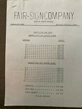 MR1213:Fair Sign Company Action Signs Price List for 1967