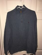 Polo by Ralph Lauren Mens Pullover L  Large Blue Long Sleeve 1/4 Zip Mock Neck