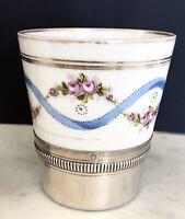 Gobelet Timbale porcelaine de Limoges et Argent Massif Style Louis XVI 1910
