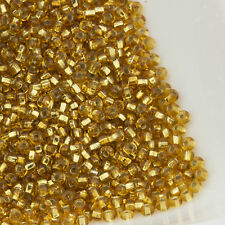 Vintage Czech Seed Beads Round 11/0 Silver Lined Gold 20g 10644006