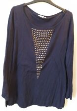 NEARLY NEW Ladies Navy Blue Jumper Espirit Thin Knit Size XL 16 Long Studded