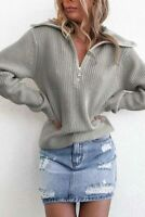 Women's Long Sleeve Sweater Solid Casual Knitted sweater Blouse T-shirt Loose