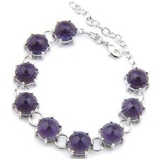 Mystical Round Cut Purple Amethyst Gemstone Silver Woman Chain Bracelet 8 Inch