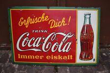 """Antikes Emailleschild Coca Cola """"Erfrische Dich"""" 30ger Jahre selten"""