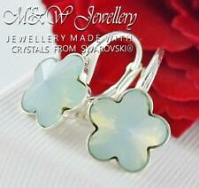 925 Sterling Silver Earrings Crystals from Swarovski® 10mm FLOWER - Pacific Opal