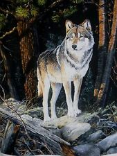 Naturescapes Solitary Sentinel Wolf Fabric Panel DP21378 Premium Cotton
