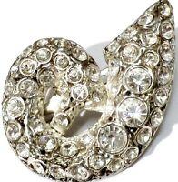 broche ancienne bijou vintage couleur argent déco cristaux  diamant 459
