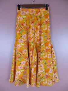 SK10912- COLDWATER CREEK Woman 100% Polyester Paneled Flared Skirt Floral Sz PXS