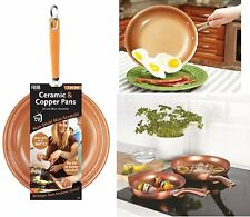 2 Piece Ceramic Frying Pan Cookware Set Copper Effect 24cm & 28cm. Gas, Electric