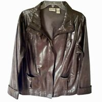 Zenergy By Chicos Womens Moto Jacket Brown Snakeskin Zip Up Pockets 12/14 Large