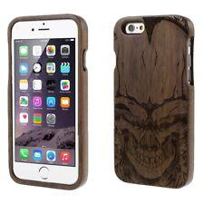 "Apple iPhone 6 6S 4.7"" Handy Tasche Skull Echt Holz Totenschädel Dunkelbraun"