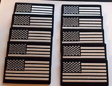 US Flag Patch White and Black with Hook and Loop Backing Lot of 10  US Seller