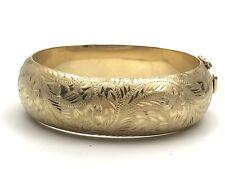 14K Solid Yellow Gold Huge 20mm Floral Etched Oval Hinged Bangle Bracelet-29gram