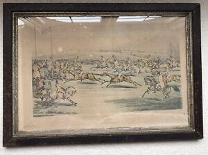 1866 Original Charles Bentley Aquatint Etching Aylesbury Steeple Chase Framed